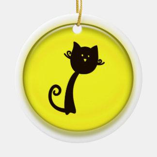 Cute Cartoon Black Cat Ceramic Ornament