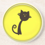 Cute Cartoon Black Cat Drink Coaster