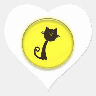 Cute Cartoon Black Cat Heart Sticker