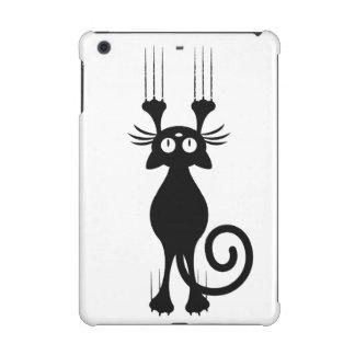 Cute Cartoon Black Cat Scratching iPad Mini Retina Cover