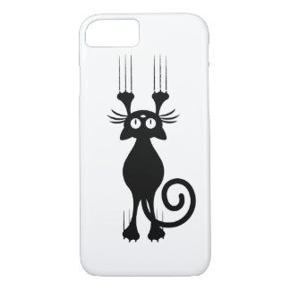 Cute Cartoon Black Cat Scratching iPhone 7 Case