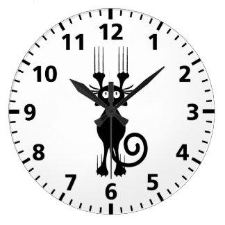 Cute Cartoon Black Cat Scratching Large Clock