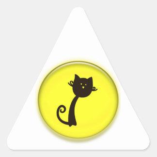 Cute Cartoon Black Cat Triangle Sticker
