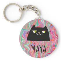 Cute Cartoon Black Cat with Yellow Eyes Liquid Art Keychain