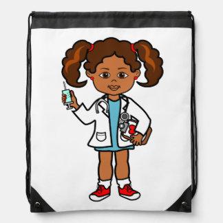Cute Cartoon Black Girl Doctor Positive Image Drawstring Bag