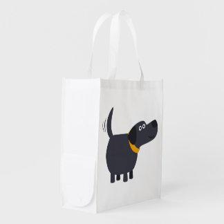 Cute Cartoon Black Labrador Reusable Bag Reusable Grocery Bag