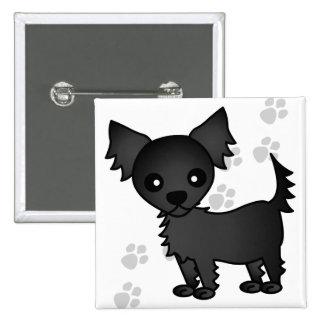 Cute Cartoon Black Long-haired Chihuahua Button
