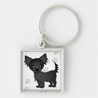 Cute Cartoon Black Long-haired Chihuahua Keychain