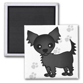 Cute Cartoon Black Long-haired Chihuahua Magnet