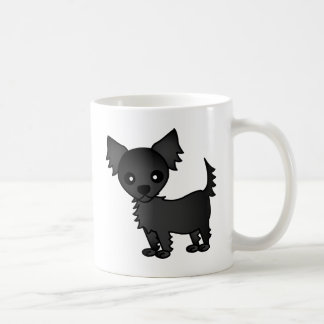 Cute Cartoon Black Long-haired Chihuahua Mugs
