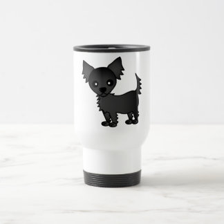 Cute Cartoon Black Long-haired Chihuahua 15 Oz Stainless Steel Travel Mug