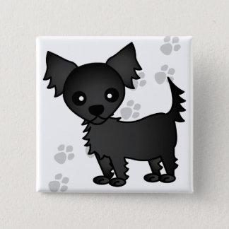 Cute Cartoon Black Long-haired Chihuahua Pinback Button