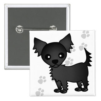 Cute Cartoon Black Long-haired Chihuahua Pinback Button