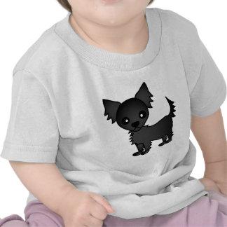 Cute Cartoon Black Long-haired Chihuahua Shirt