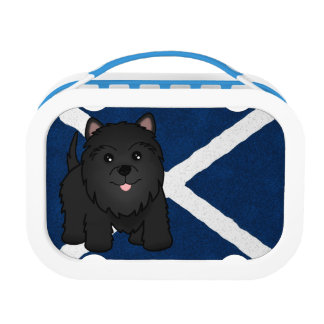 Cute Cartoon Black Scottish Terrier Puppy Dog Lunch Boxes