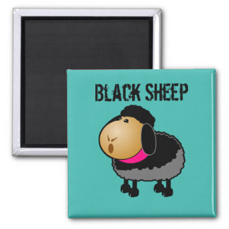 Cute Cartoon Black Sheep Drawing Magnet