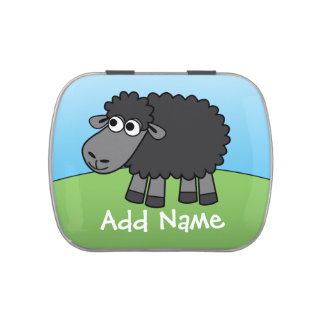 Cute Cartoon Black Sheep with Area for Name Jelly Belly Tin