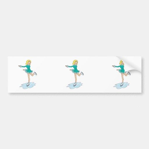 cute cartoon blonde girl figure skating car bumper sticker
