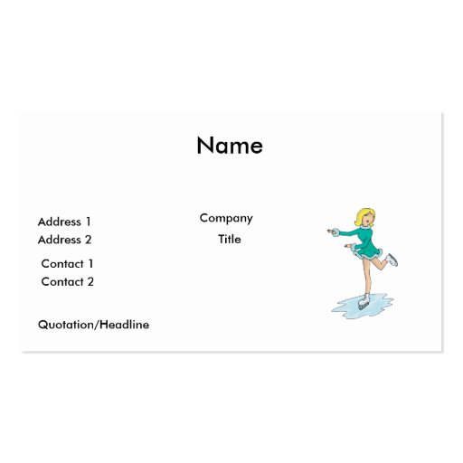 cute cartoon blonde girl figure skating Double-Sided standard business cards (Pack of 100)