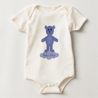 Cute Cartoon Blue Baby Teddy Bear Baby Bodysuit