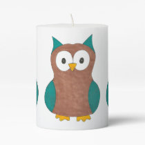 Cute Cartoon Blue Brown Owl Bird Owls Candle