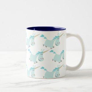 Cute Cartoon Blue Unicorns mug mug