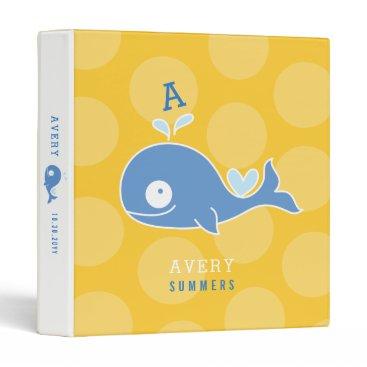 Beach Themed Cute Cartoon Blue Whale Monogram Kid Photo Binder