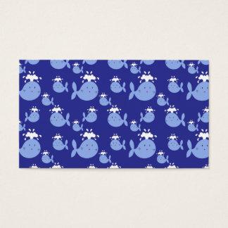 Cute Cartoon Blue Whale Pattern Business Card