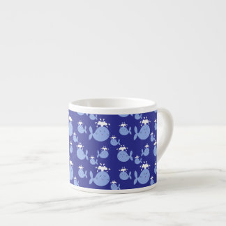 Cute Cartoon Blue Whale Pattern Espresso Cup