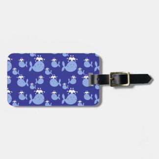 Cute Cartoon Blue Whale Pattern Bag Tag