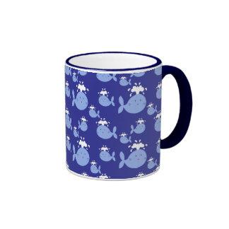 Cute Cartoon Blue Whale Pattern Coffee Mug