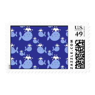Cute Cartoon Blue Whale Pattern Stamps