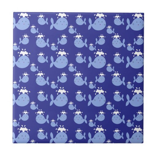 Cute Cartoon Blue Whale Pattern Small Square Tile