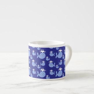 Cute Cartoon Blue Whale Pattern Espresso Cup