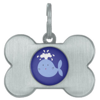 Cute Cartoon Blue Whale Pet ID Tag