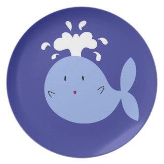 Cute Cartoon Blue Whale Dinner Plate