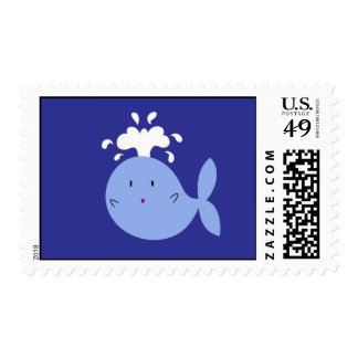 Cute Cartoon Blue Whale Postage