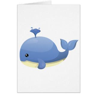 Cute Cartoon Blue Whale Spouting Water Card