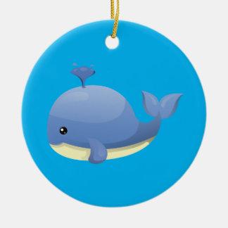 Cute Cartoon Blue Whale Spouting Water Ceramic Ornament