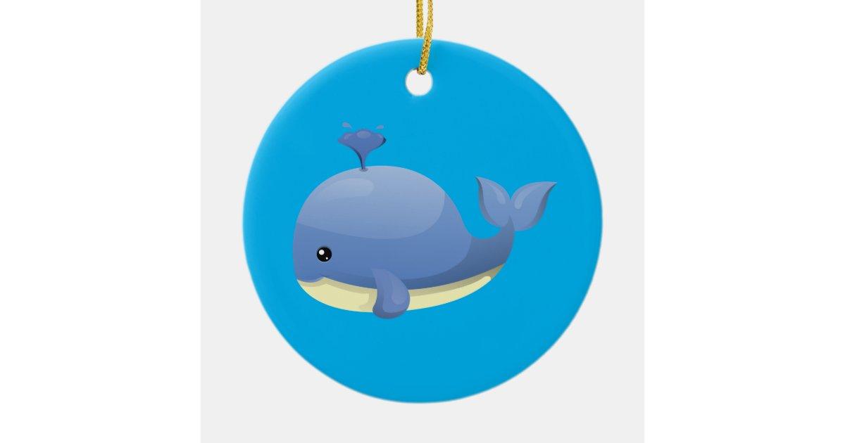 Cute Cartoon Blue Whale Spouting Water Ceramic Ornament ...