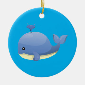 Cute Cartoon Blue Whale Spouting Water Double-Sided Ceramic Round Christmas Ornament