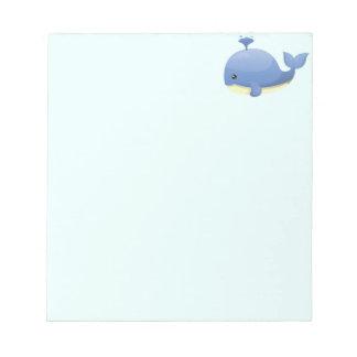 Cute Cartoon Blue Whale Spouting Water Note Pad
