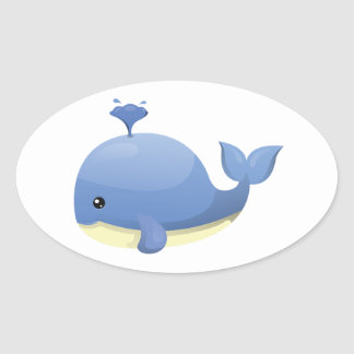 Cute Cartoon Blue Whale Spouting Water Oval Sticker