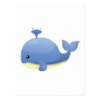 Cute Cartoon Blue Whale Spouting Water Postcard