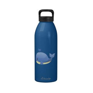 Cute Cartoon Blue Whale Spouting Water Drinking Bottle