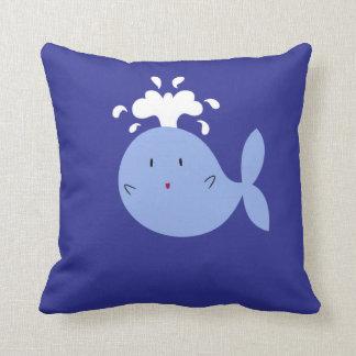 Cute Cartoon Blue Whale Throw Pillow