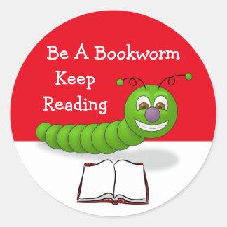 Cute Cartoon Bookworm Keep Reading Literacy Classic Round Sticker