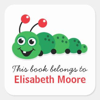 Cute cartoon bookworm personalized bookplate square sticker