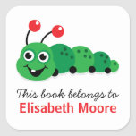 Cute cartoon bookworm personalized bookplate square stickers
