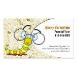 Cute Cartoon Bookworm Tutor Yellow Business Card